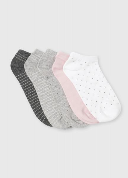 Комплект коротких носков с жаккардом