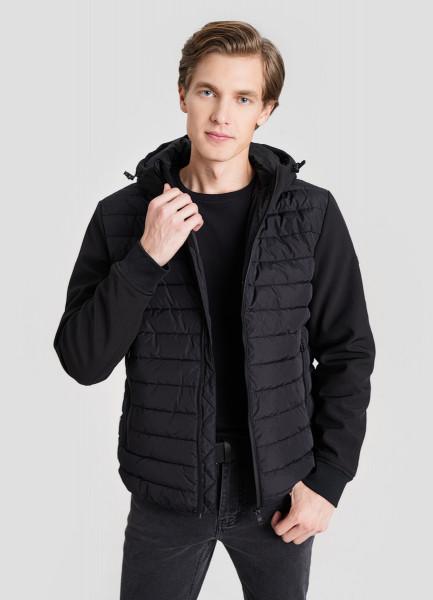 Куртка с капюшоном и комбинацией тканей