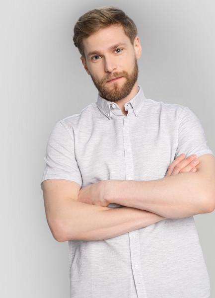 Рубашка в микроячейку с протяжками фото