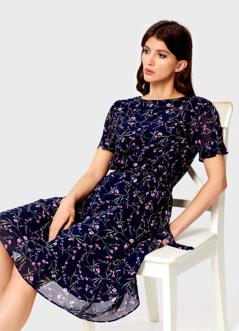 Платье из шифона в цветочный принт