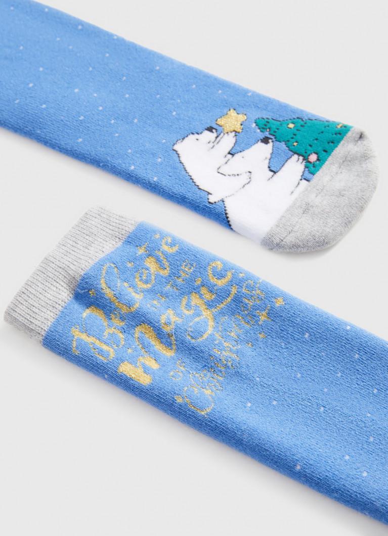 Махровые носки с жаккардом «медведи»