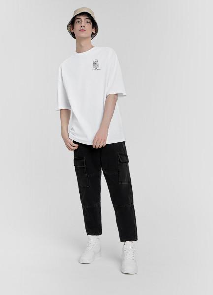 Широкие чёрные джинсы с карманами