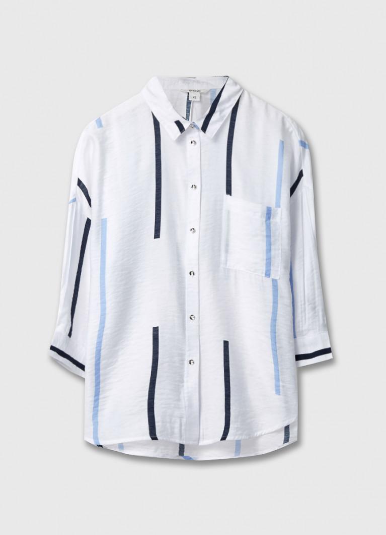 Вискозная блузка в разноцветную полоску