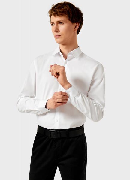 Рубашка из однотонного поплина фото