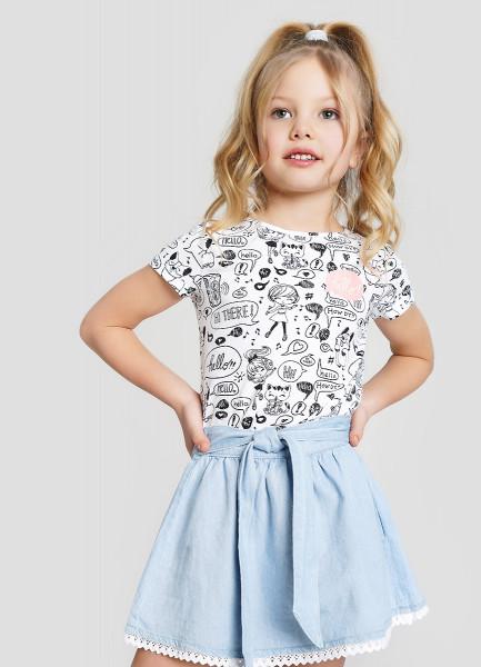 Джинсовая юбка с кружевом для девочек
