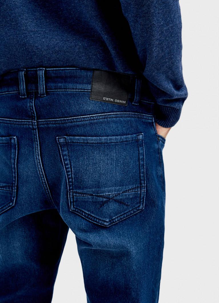 Зауженные утеплённые джинсы