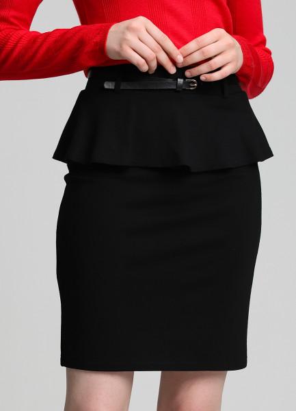 Трикотажная юбка с баской