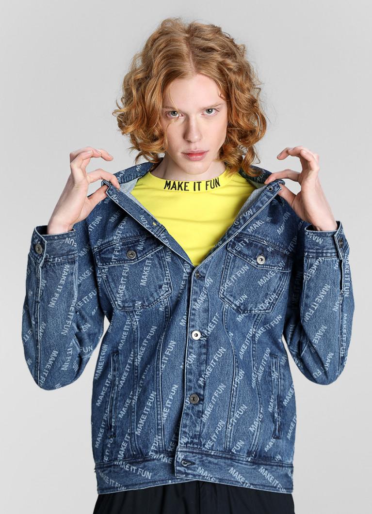 Джинсовая куртка с принтом Make it Fun