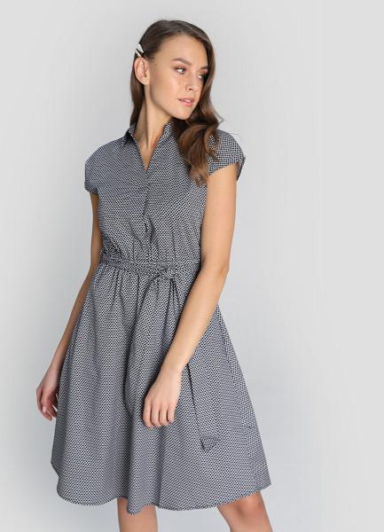 Хлопковое платье на поясе фото