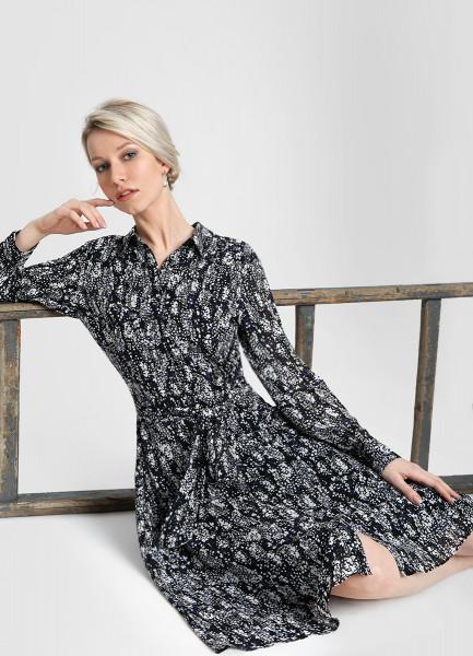 Принтованное платье А-силуэта из шифона фото