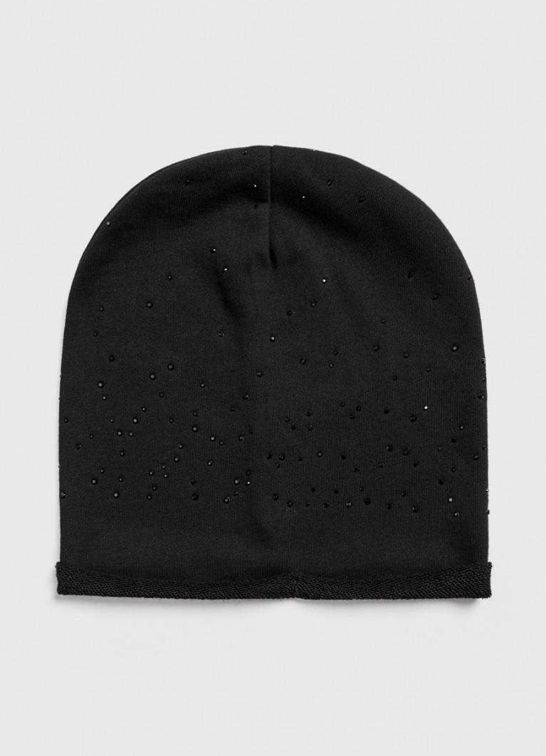 Трикотажная шапка с термоаппликацией стразами