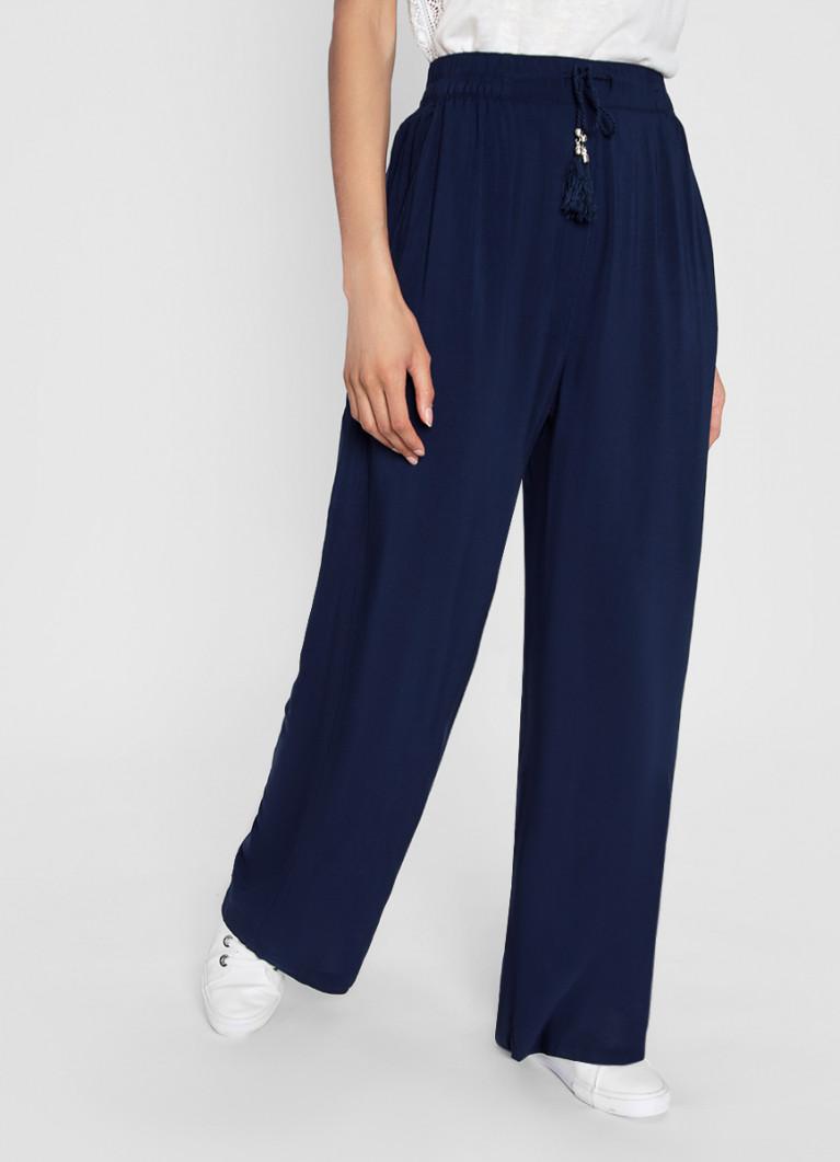 Широкие вискозные брюки на кулиске