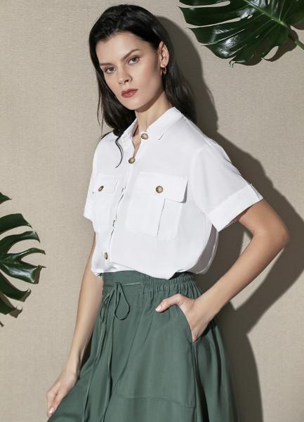 Блузка из вискозы с карманами фото