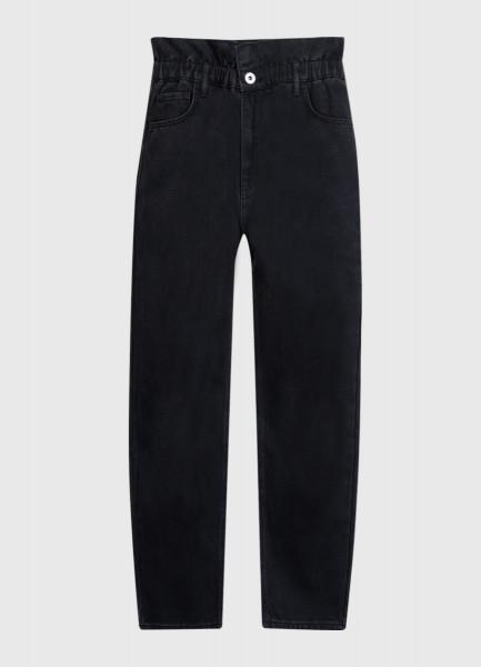 Прямые джинсы с высокой посадкой и эластичным поясом фото