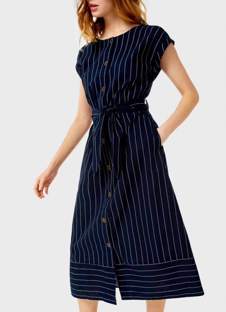 Платье на пуговицах в полоску