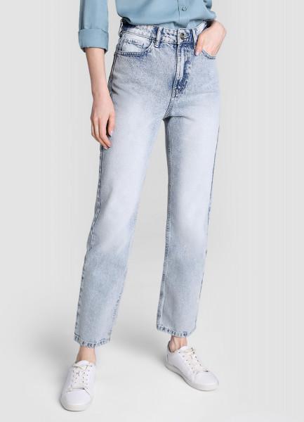 Прямые светло-голубые джинсы с высокой посадкой фото