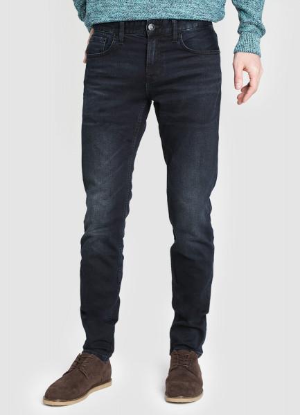 Тёмно-синие зауженные джинсы фото