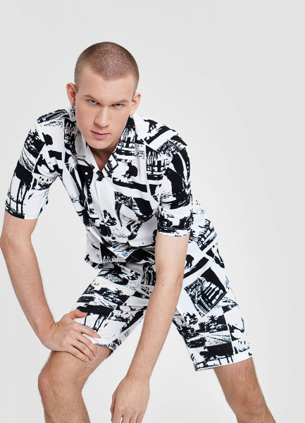 Рубашка из вискозы с принтом