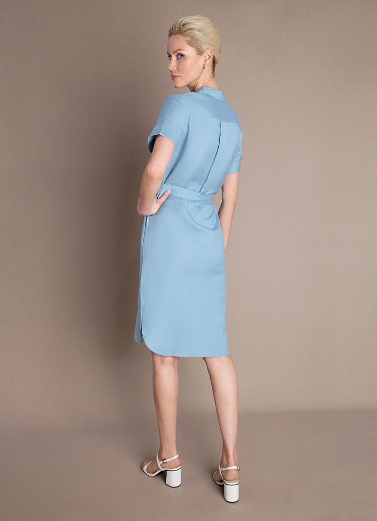 Платье-рубашка изо льна с поясом