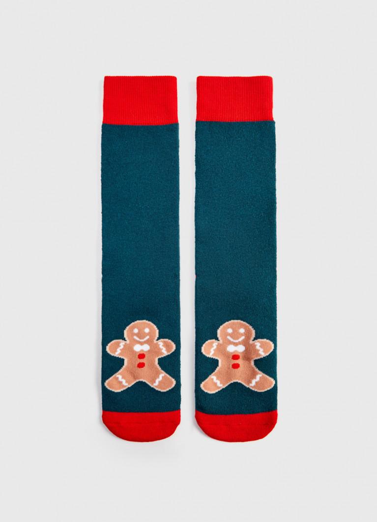Махровые носки с жаккардом «пряничный человек»