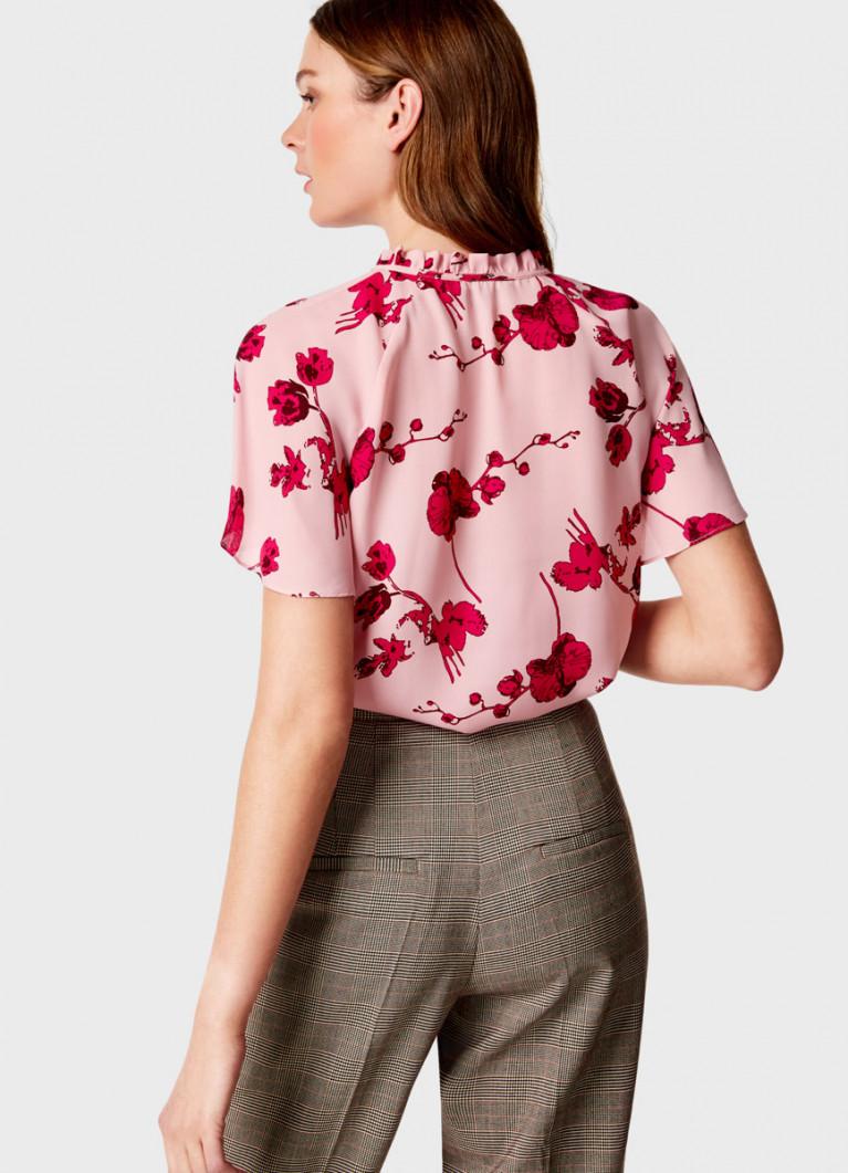 Креповая блузка в цветочный принт
