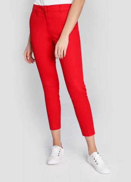 Зауженные брюки из сатинированного хлопка фото