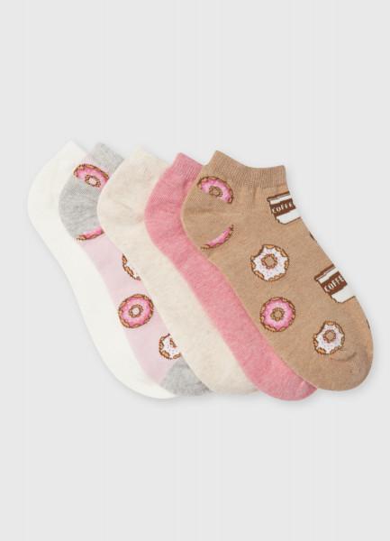 Комплект коротких носков с жаккардом «пончики»