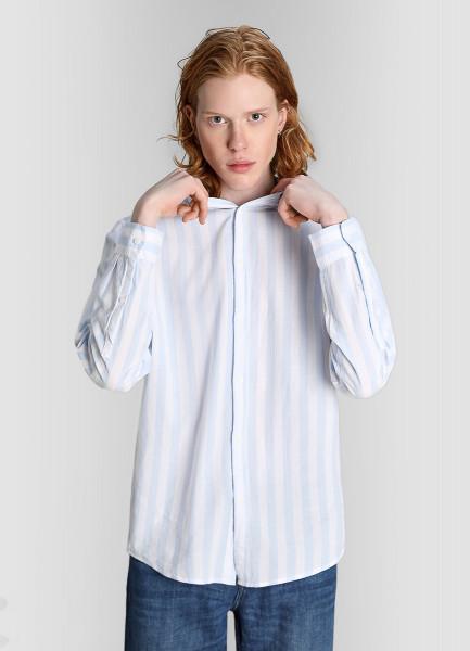 Рубашка из жатого хлопка в полоску фото