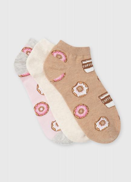 Короткие носки с жаккардом «пончики»