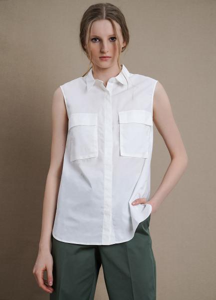 Хлопковая блузка с накладными карманами