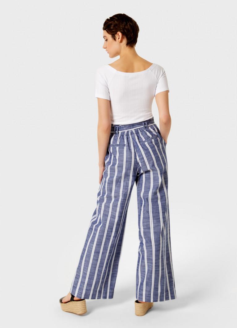 Широкие брюки в полоску из хлопка