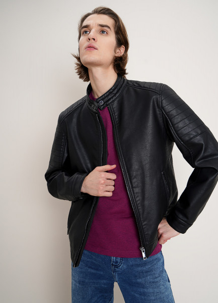 Куртка из искусственной кожи с металлическими молниями