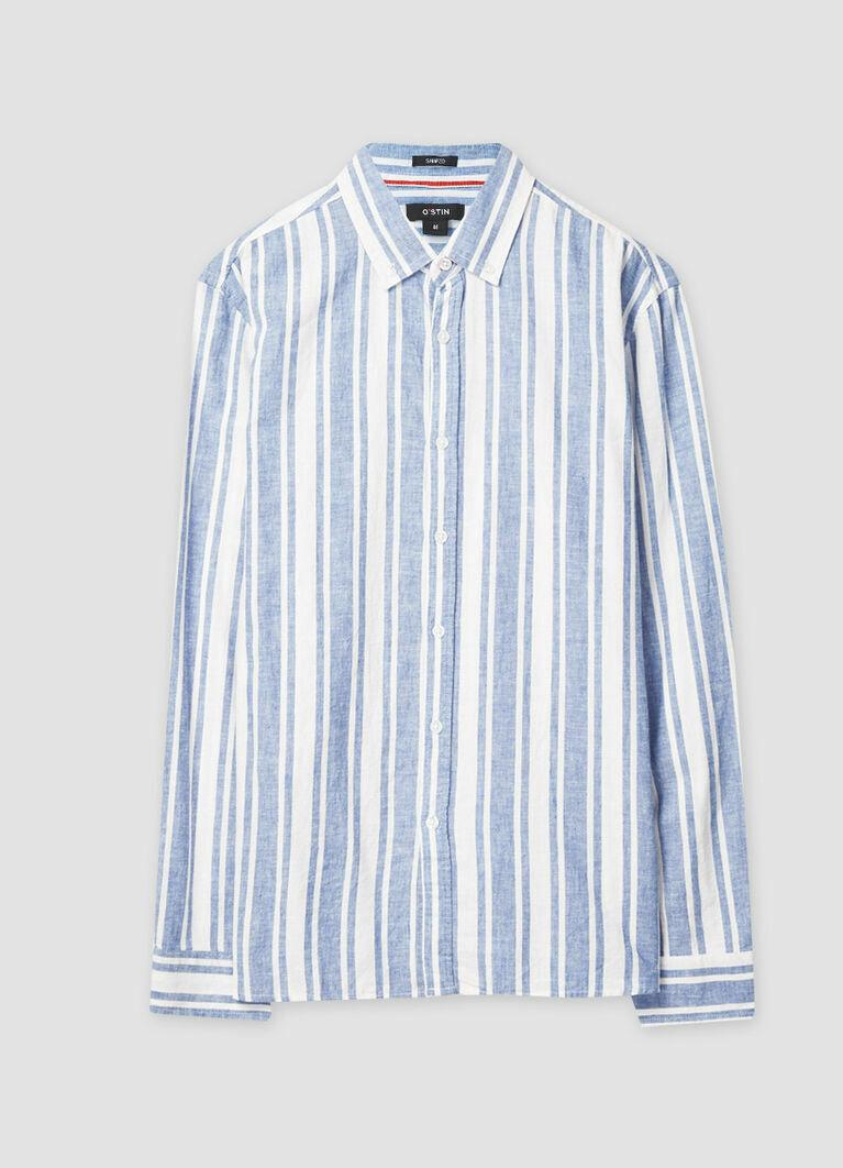 Рубашка из структурного хлопка в крупную полоску