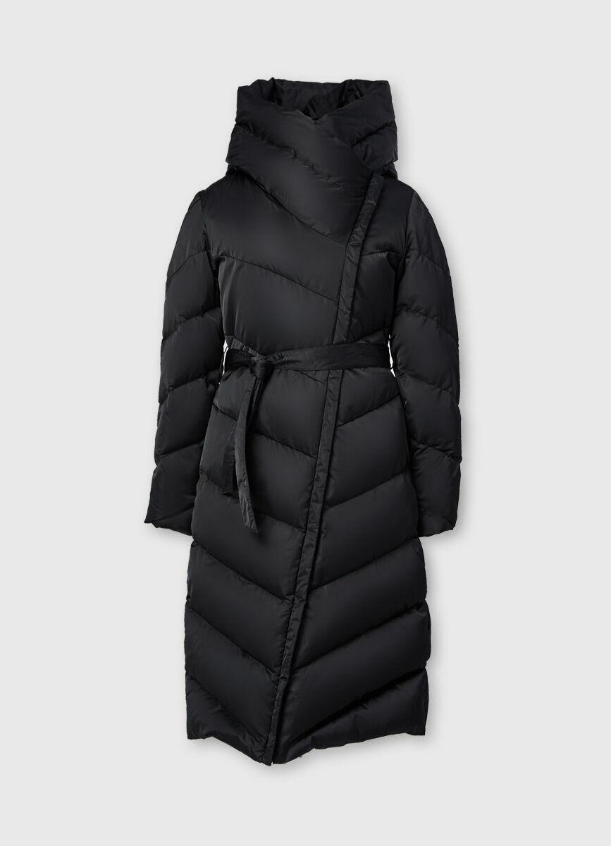 Длинное пуховое пальто с поясом