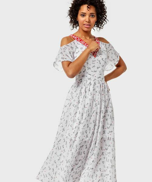 Шифоновое платье с открытыми плечами