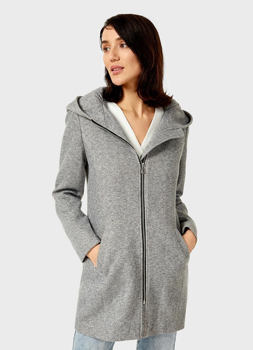 Трикотажное пальто с капюшоном