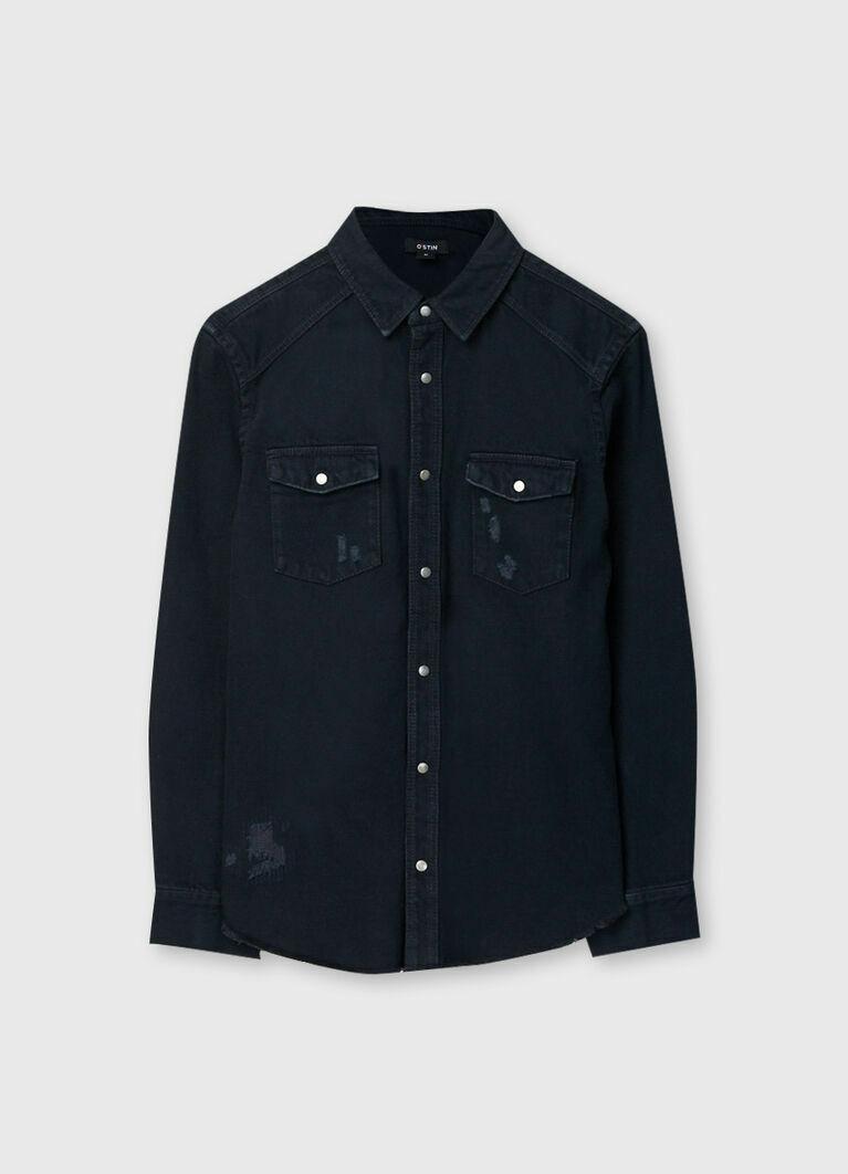 Джинсовая рубашка со стиркой