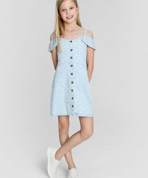 цена на Джинсовое принтованное платье c открытыми плечами