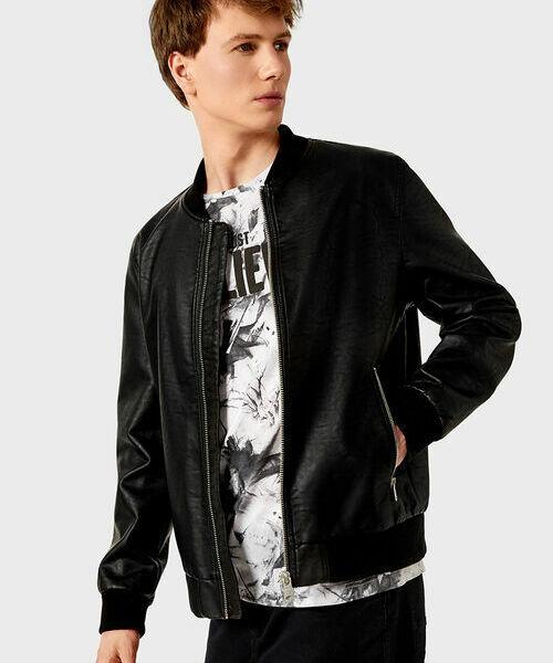 Куртка-бомбер из искусственной кожи