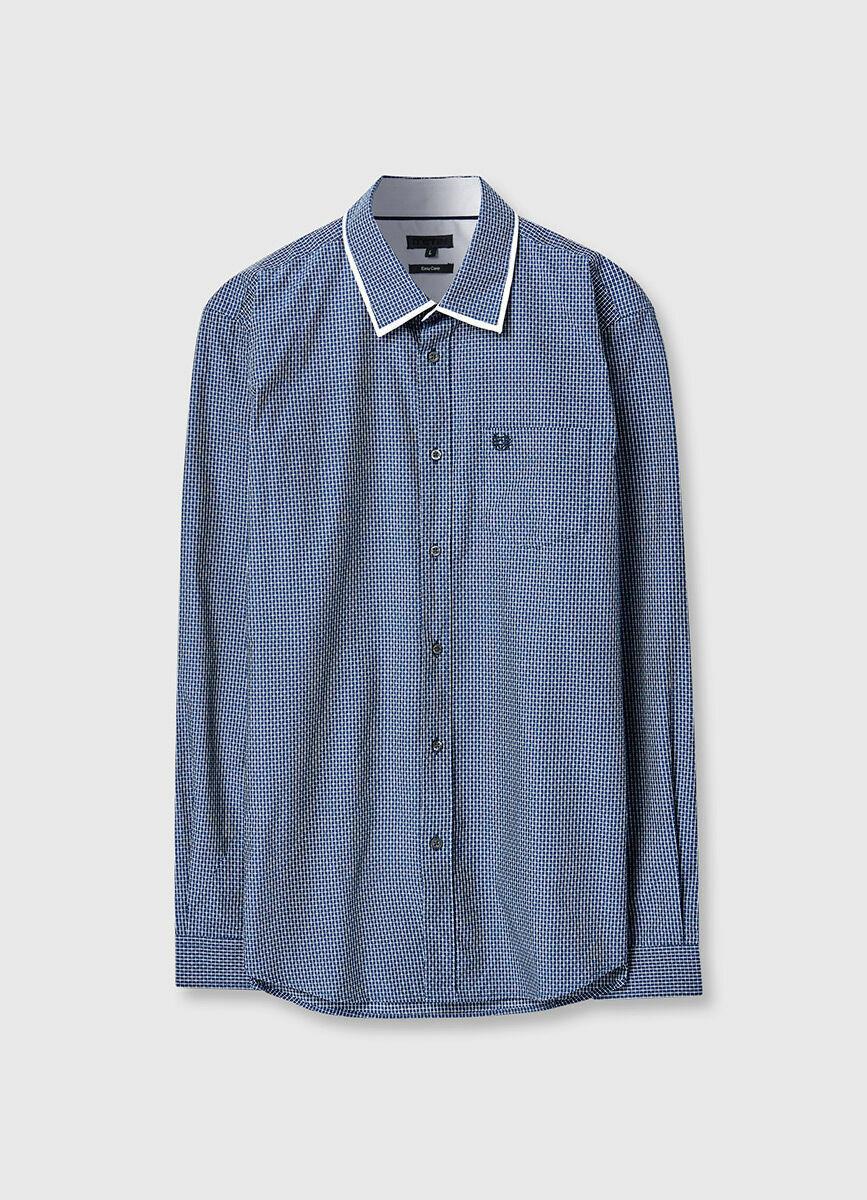 Рубашка в клетку с жаккардом