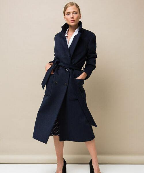 Длинное шерстяное пальто с поясом цена