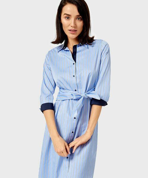 Фото - Платье-рубашка в полоску с поясом фото