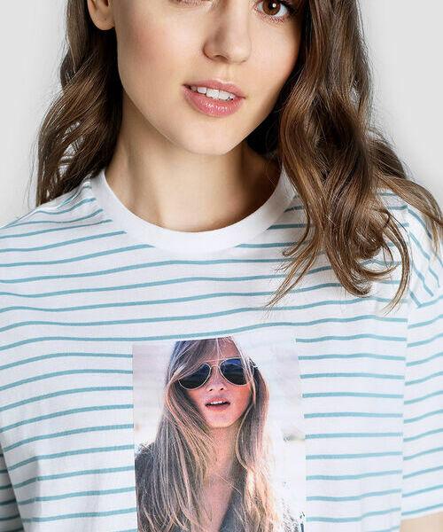Полосатая футболка с принтом