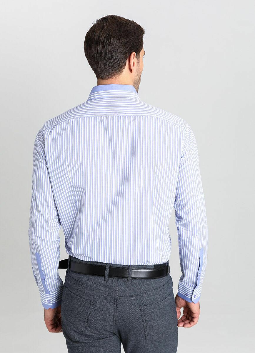 Рубашка в полоску со сложным воротником