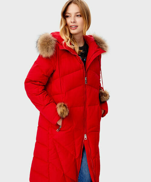 Длинное прямое пальто с мехом пальто с мехом норки american legend