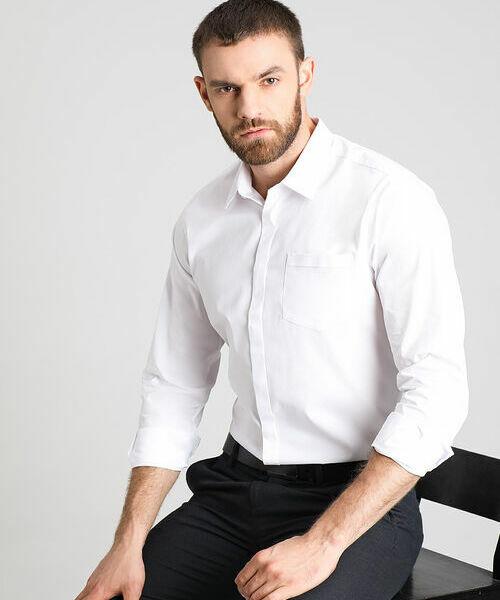 Однотонная рубашка из ткани с эластаном цена