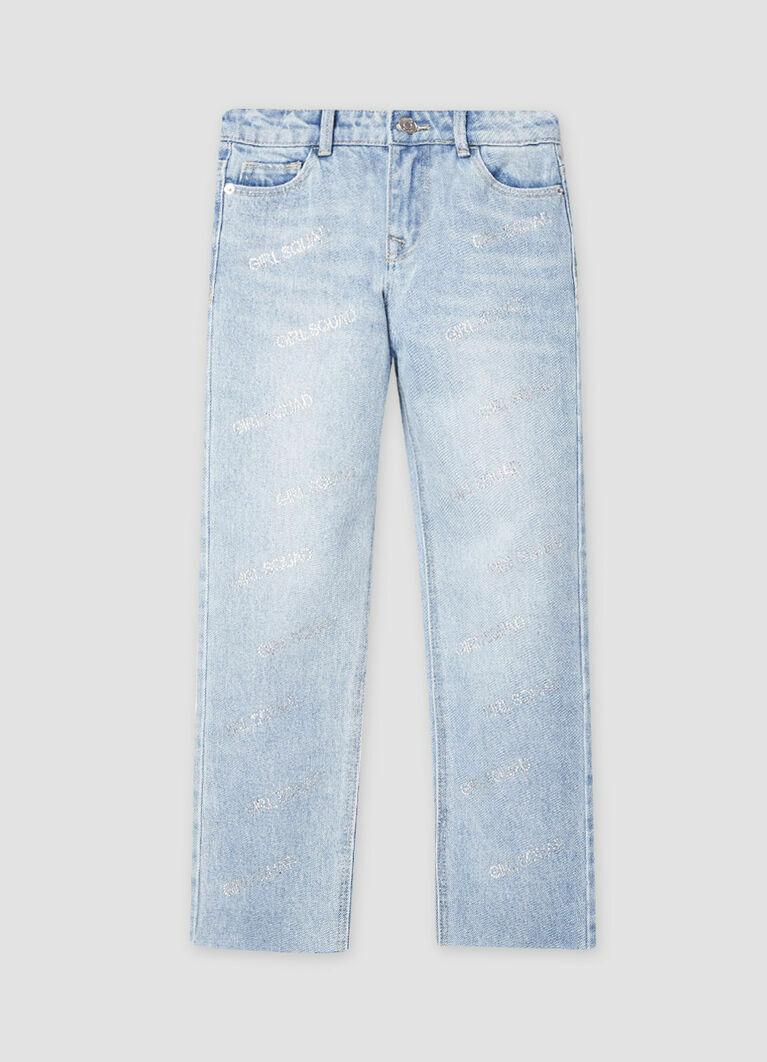 Прямые джинсы с аппликацией стразами Girls Squad
