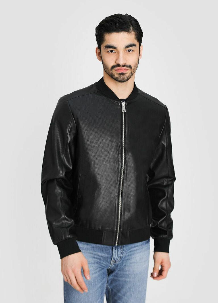 Куртка-бомбер из перфорированной искусственной кожи