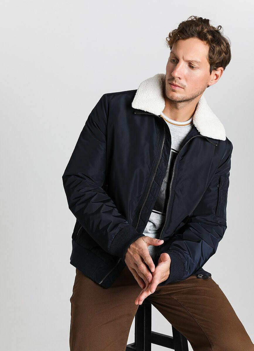 Куртка-бомбер с воротником из искусственного меха