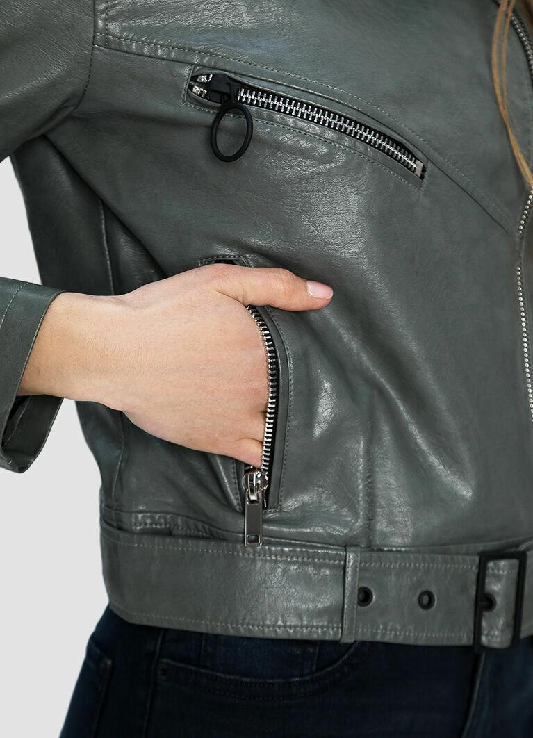 Куртка-байкер из искусственной кожи